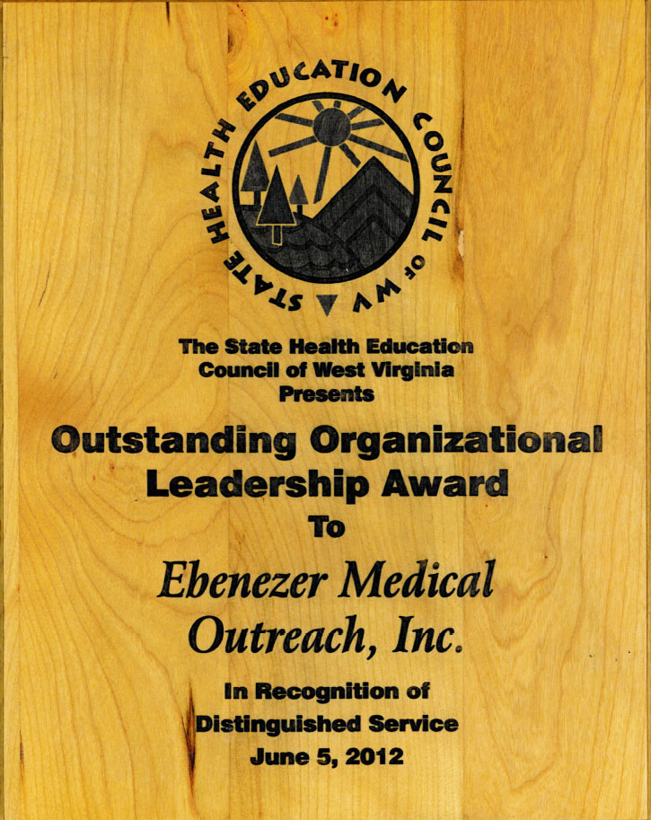 The State Health Education Council of West Virginia Outstanding Organizational Leadership Award